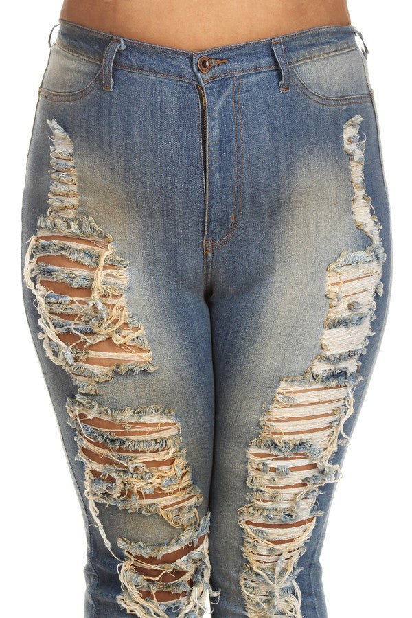 Vintage High Rise Destroyed Denim