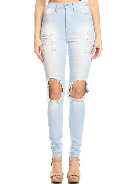 High Rise Skinny Jeans HandSanding & Front Leg Destruction