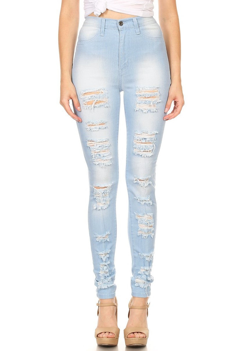 High Rise Skinny Jeans Heavy Destruction