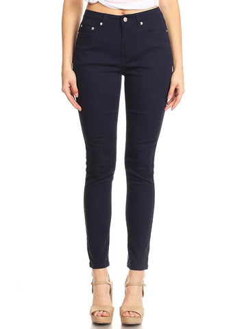 Semi High Rise Solid 5 Pocket Jeans Navy