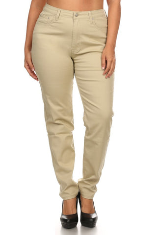 Semi High Rise Basic Solid 5 Pocket Skinny