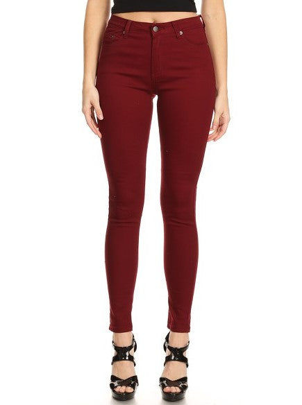 Semi High Rise Solid 5 Pocket Jeans Burgundy