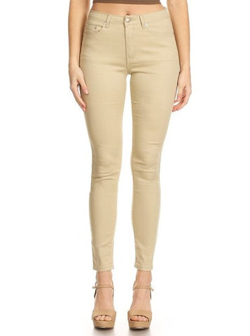 Semi High Rise Solid 5 Pocket Jeans Khaki