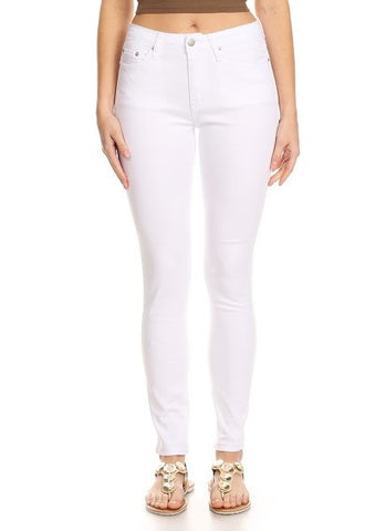 Semi High Rise Solid 5 Pocket Jeans White