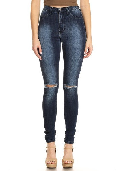 High Rise Skinny Denim Knee and Rear Slices