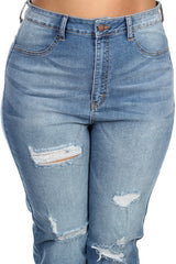 High Rise Full Length Skinny M Blue Denim