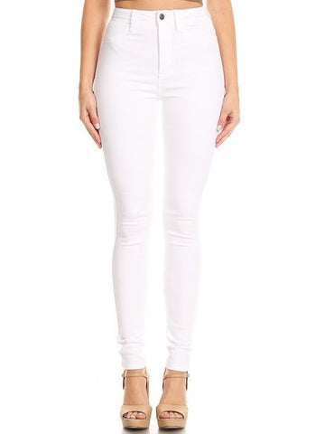 Solid High Rise Soft Skinny White