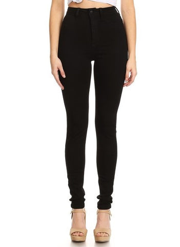 Solid High Rise Soft Skinny Black