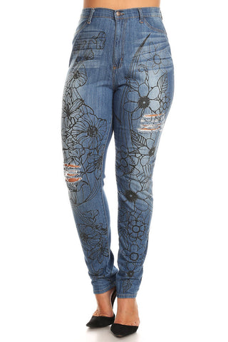High Rise Flower Stencil Skinny Jeans