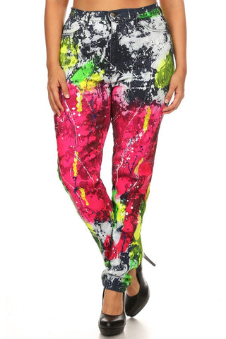 High Rise Multi Paint Splash Skinny Jeans