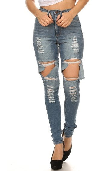High Rise Skinny Denim Heavy Destruction