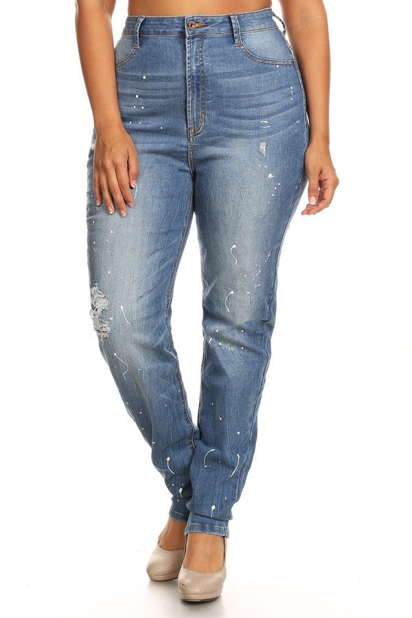High Rise Whiskers HandSanding Distressed Skinny Jeans