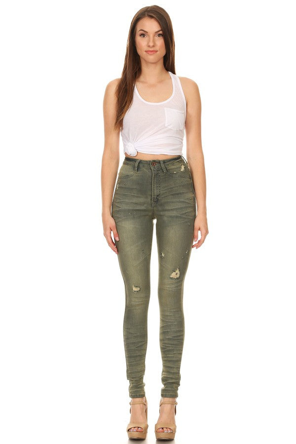 High Rise Skinny Jeans Olive