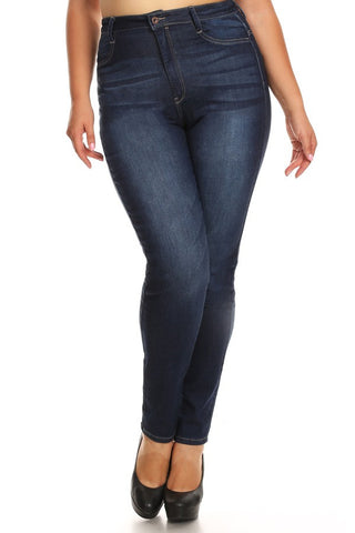 High Rise Solid Skinny Denim Jeans