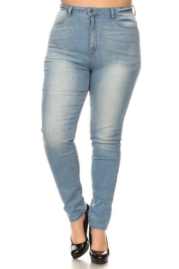 0428a7250d6d4 Monotiques - Women Plus Size Jeans High Rise Solid Skinny Full