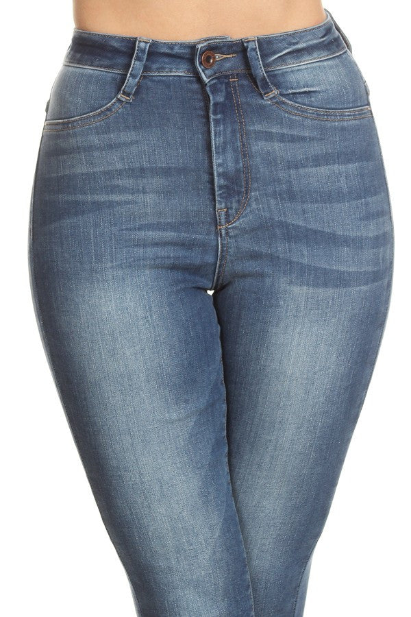 High Rise Solid Skinny Stretch Denim