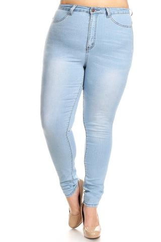 Rinse Washed Skinny Jeans Lt Blue