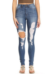 High Rise Skinny Denim Thigh Destruction