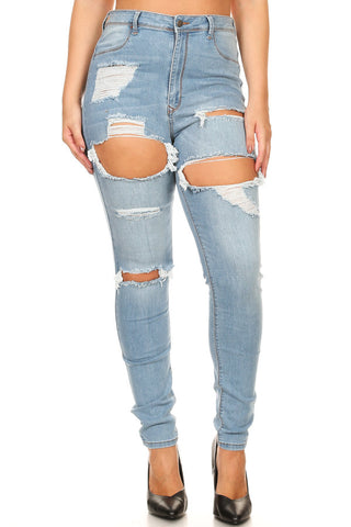 High Rise Washed Down Skinny Jeans