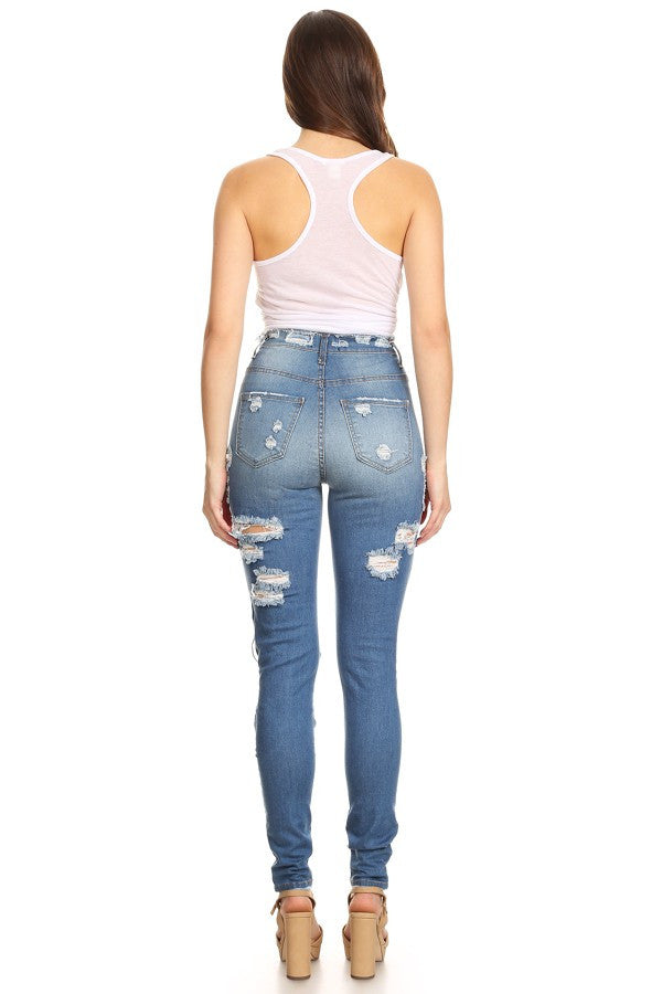 1cf5166b76a Monotiques - Women Denim Front&Back Destruction High Rise Skinny Jeans
