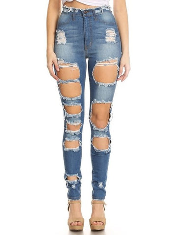 women destroyed jeans