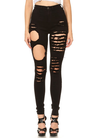 High Rise Skinny Jeans Thigh Destruction Black