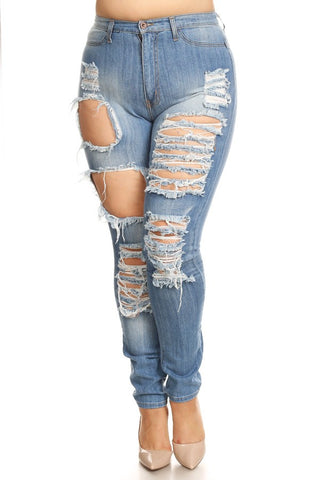 High Rise Thigh Destructed Skinny Jeans