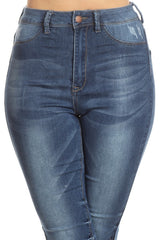 High Rise Solid Stretch Skinny Denim