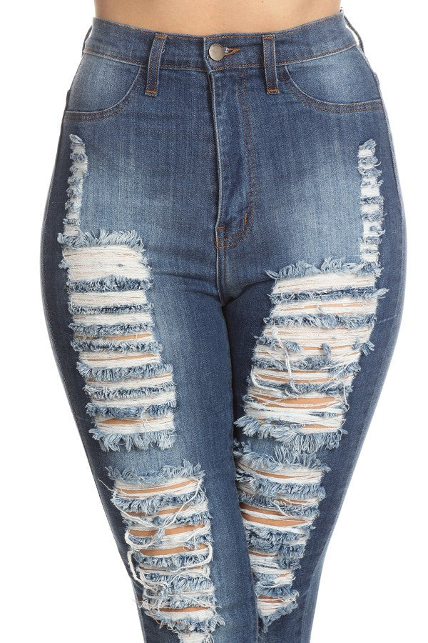 High Rise Skinny Denim Slice Destruction