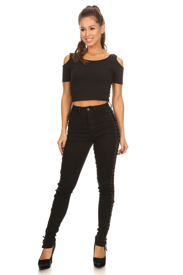 High Rise Sides Lace Up Skinny