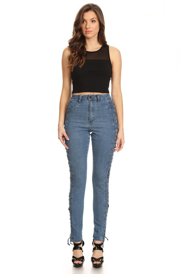 High Rise Sides Lace Up Skinny Denim