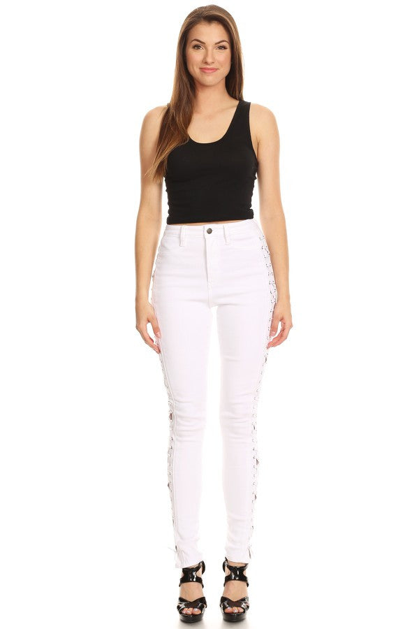 High Rise Sides Lace Up Skinny White
