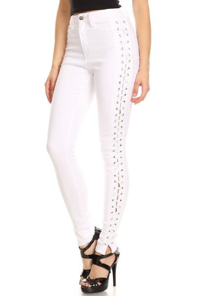 women side lace skinny jeans
