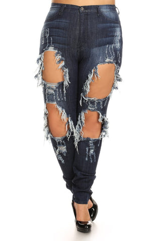 High Rise Heavy Wash Down Distressed Skinny Jeans