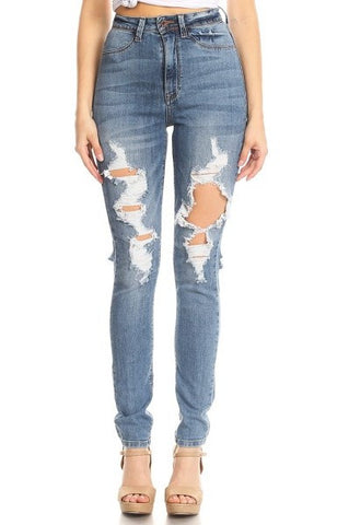 High Rise Denim Front and Back Leg Destruction
