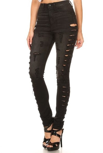 High Rise Skinny Jeans Outseam Destruction