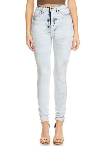 High Rise Super Washed Down Skinny Jeans