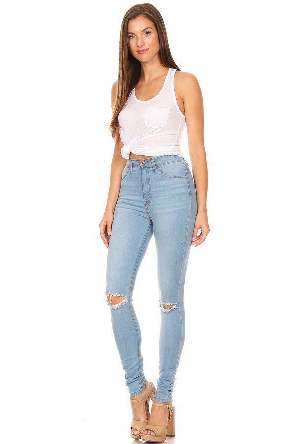 High Rise Front Leg Destruction Skinny Jeans