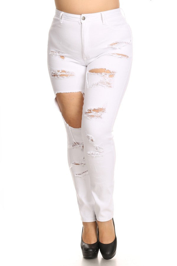 Front & Back Leg Destruction High Rise Jeans