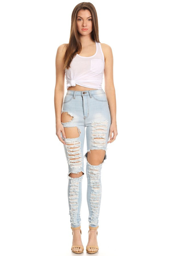 High Rise Skinny Jeans Heavy Wash Down