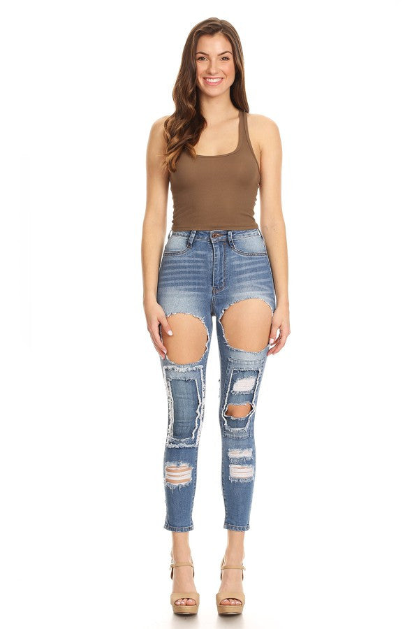 Front&Back Destroyed Skinny Denim Jeans