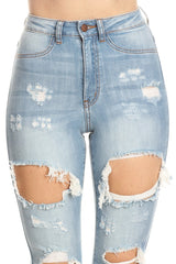 Front Leg Destructed High Rise Skinny Jeans