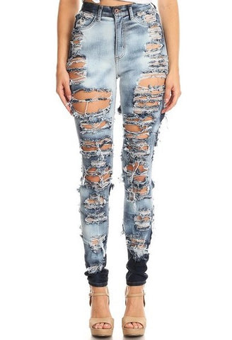 Heavy Front & Rear Destroyed High Rise Skinny Jeans