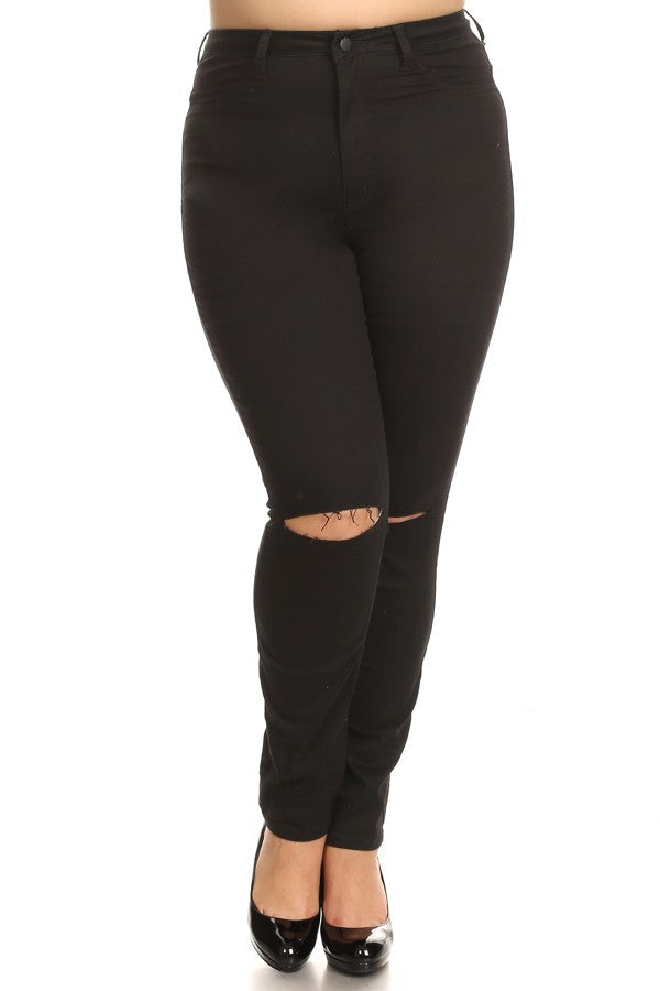 Knee Sliced High Rise Skinny Jeans