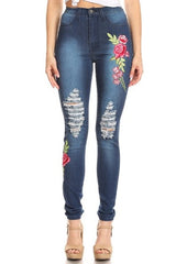 women flower embroidery skinny jeans