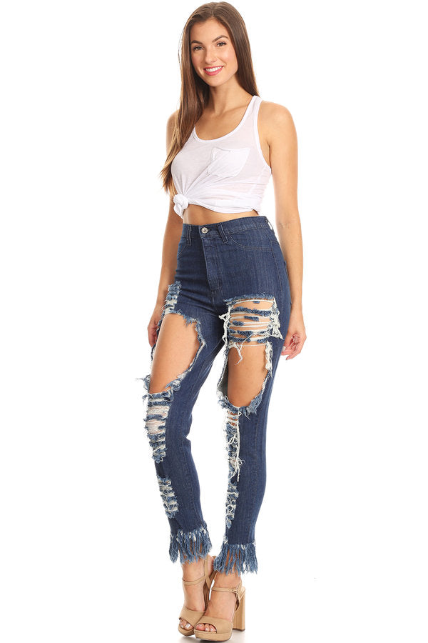 High Rise Frayed Leg Skinny Destroyed Jeans