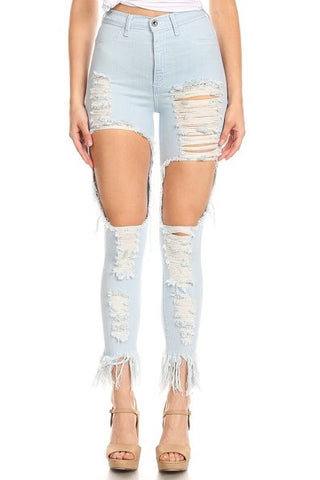 High Rise Frayed Leg Skinny Jeans