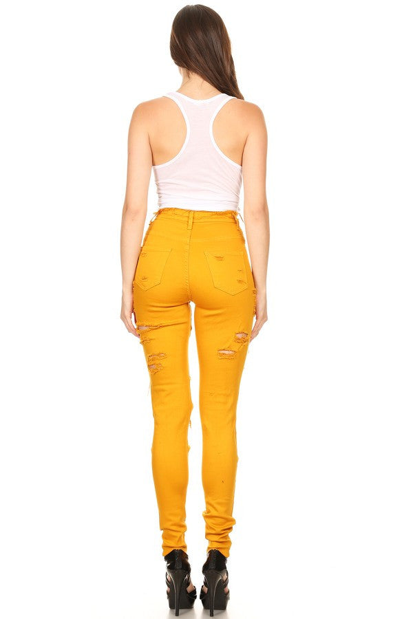 Raw Edge High Rise Skinny Jeans