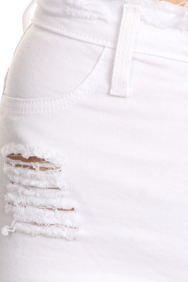 0b46c10245 Monotiques - Women Raw Edge High Rise Skinny White Jeans