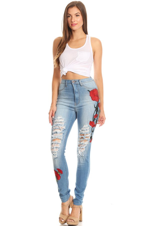 Flower Patch High Rise Skinny Jeans Knee Slices